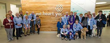 """Providence St. Vincent volunteers got a sneak peek at Basecamp where """"we heart you!"""""""